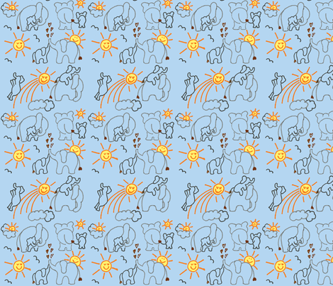 You Are My Sunshine Elephants in Blue fabric by kbexquisites on Spoonflower - custom fabric
