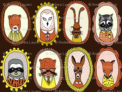 woodland // fox sloth raccoon bear otter cute illustration animals in frames