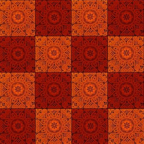 Red and Orange Textured Checkerboard