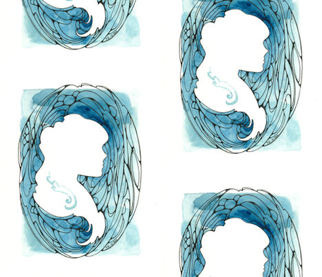 Blue Cameo fabric by piquestudios on Spoonflower - custom fabric