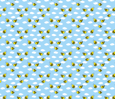 Bees in the Clouds fabric by shelleymade on Spoonflower - custom fabric