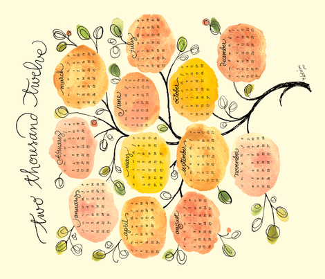 sweet-year-tree for 2012 fabric by lisaekström on Spoonflower - custom fabric