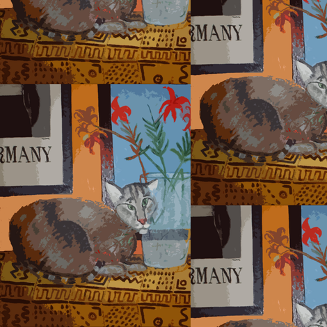 Sparky with Day Lilies and Bogalan in Berlin fabric by susaninparis on Spoonflower - custom fabric