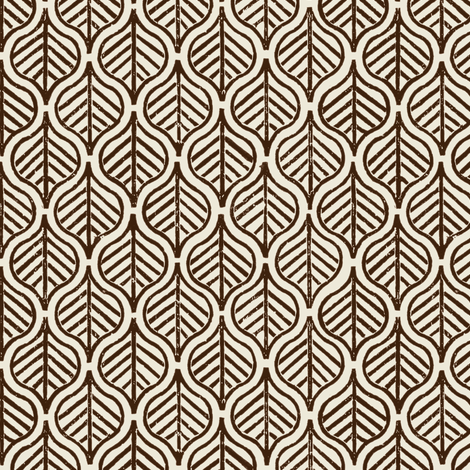Indian Leaf / Chocolate & Natural fabric by mjdesigns on Spoonflower - custom fabric