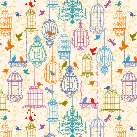 Birds and cages vintage pattern warm colors fabric by yaskii on Spoonflower - custom fabric