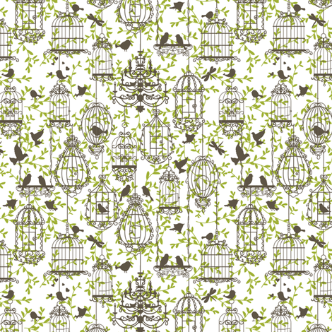 Birds and cages vintage pattern brown-green fabric by yaskii on Spoonflower - custom fabric