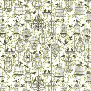 Birds and cages vintage pattern brown-green
