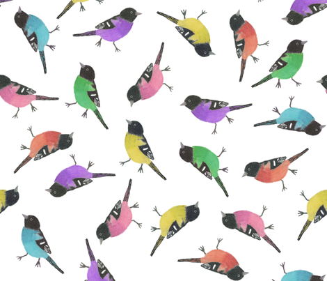 Rainbow Orioles fabric by chickie on Spoonflower - custom fabric