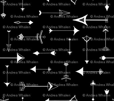 Paper Arrows (petite)  in white on black
