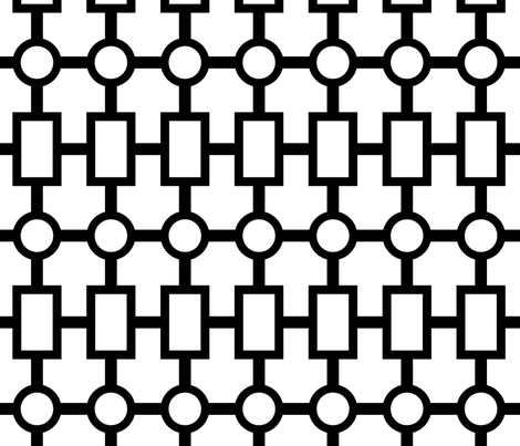 geometric chain in black white fabric by domesticate on Spoonflower - custom fabric