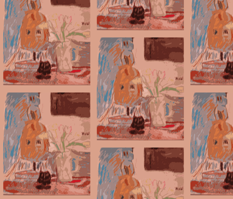 Still Life with Monkey Mask fabric by susaninparis on Spoonflower - custom fabric