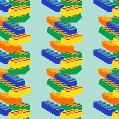 Kids' toy building blocks stacked in blue-green background fabric by eyecontact on Spoonflower - custom fabric