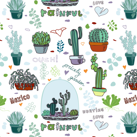 Cactus, Mexico fabric by yaskii on Spoonflower - custom fabric