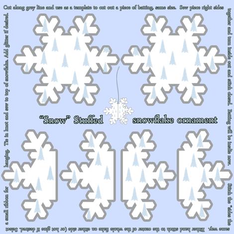 Snow Stuffed Snowflake Ornament fabric by tracydb70 on Spoonflower - custom fabric