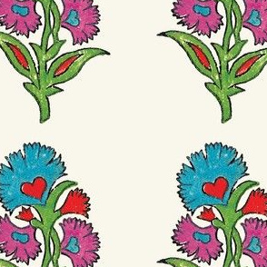 Indian Flower Stamp / Turquoise, Fuchsia, Red, Green