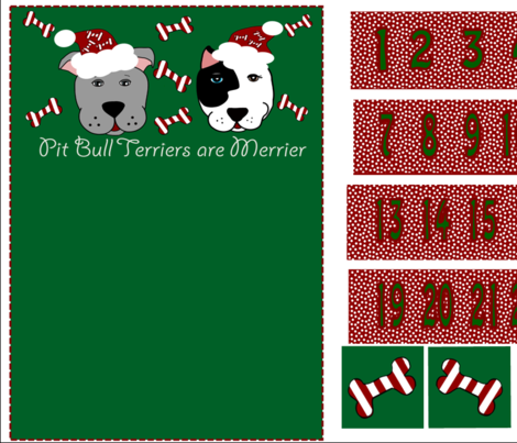 Pit Bull Terriers Are Merrier  fabric by missyq on Spoonflower - custom fabric