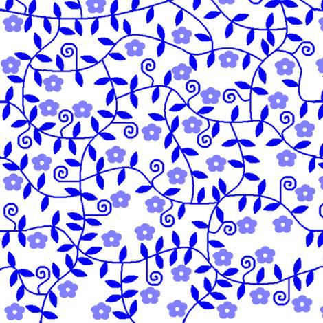 Blue with purple flowers fabric by squeakyangel on Spoonflower - custom fabric
