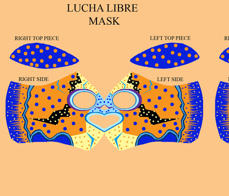 Luche_Libre_Mask_by_Deborah_Abbott fabric by worldwidedeb on Spoonflower - custom fabric