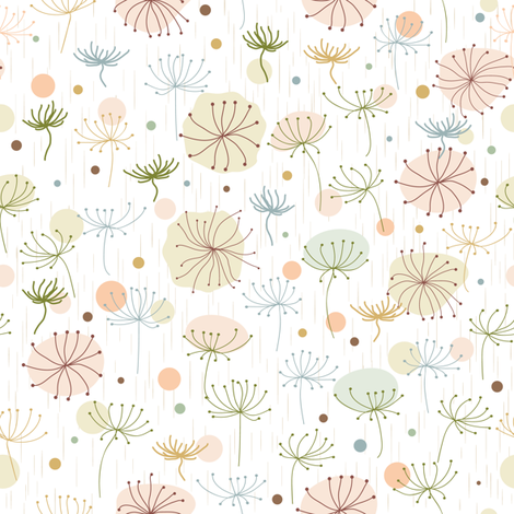 Herbs. Beige, green. fabric by yaskii on Spoonflower - custom fabric