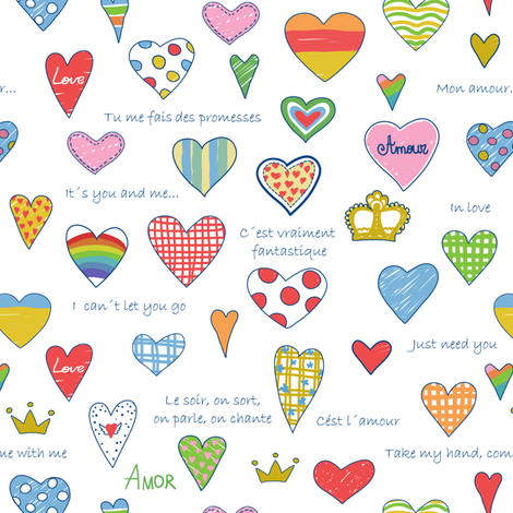 Love pattern fabric by inna_ogando on Spoonflower - custom fabric