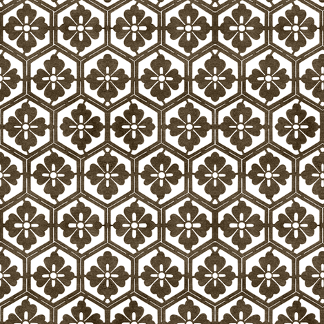 Japanese Hexagonal Stencil1 (small) antique-brown white fabric by mina on Spoonflower - custom fabric