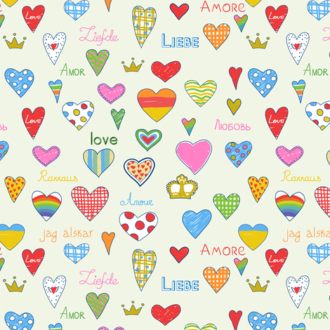 Love pattern fabric by yaskii on Spoonflower - custom fabric