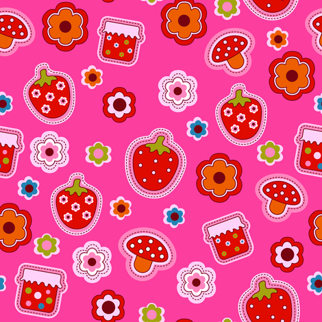 Strawberry fabric by yaskii on Spoonflower - custom fabric