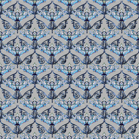 Nouveau antique blue fabric by joanmclemore on Spoonflower - custom fabric