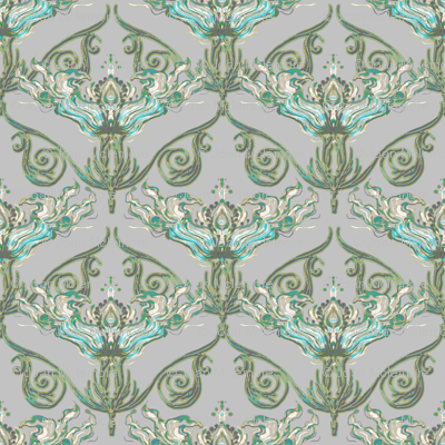 Nouveau teal and taupe