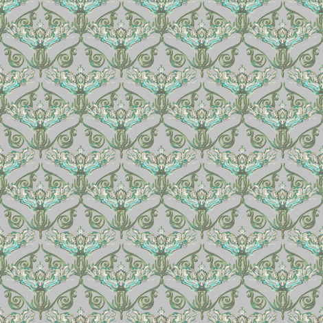 Nouveau teal and taupe fabric by joanmclemore on Spoonflower - custom fabric
