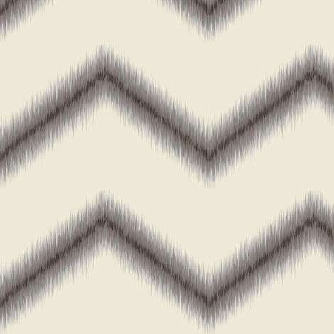 Ikat Zig Zag / Dark Grey on Natural fabric by mjdesigns on Spoonflower - custom fabric