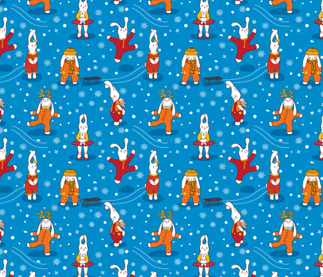 The bunny winter fabric by inna_ogando on Spoonflower - custom fabric