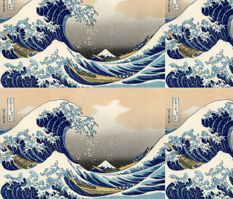 The Great Wave off Kanagawa - 1833 fabric by studiofibonacci on Spoonflower - custom fabric