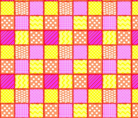 patchwork in pink, orange & yellow
