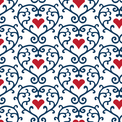 Hearts White fabric by kezia on Spoonflower - custom fabric