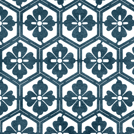 Japanese Hexagonal Stencil1 marine-blue & white