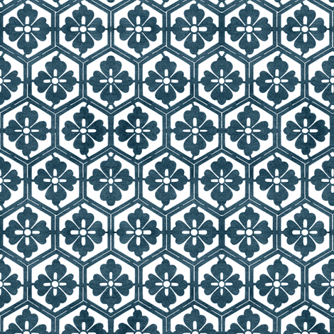 Japanese Hexagonal Stencil1 marine-blue & white fabric by mina on Spoonflower - custom fabric