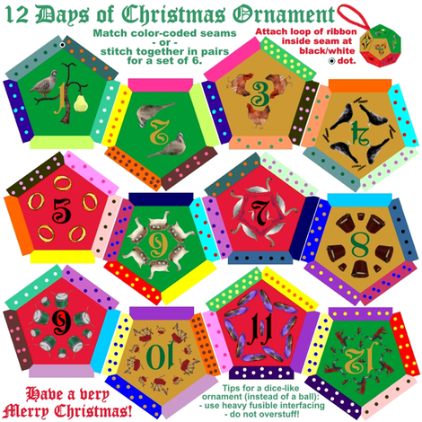 Twelve-sided Dice of Christmas Ornament fabric by veritybrown on Spoonflower - custom fabric