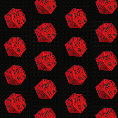 d20 gaming, red and black die fabric by elaur on Spoonflower - custom fabric