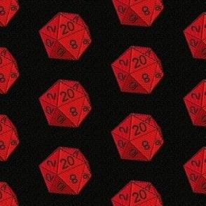 d20 gaming, red and black die