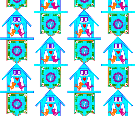 Cuckoo Clock fabric by teaandcraft on Spoonflower - custom fabric