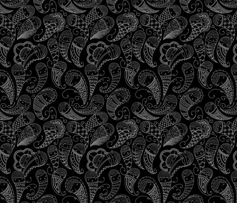 Ghostly Paisley: Heart of Darkness fabric by beeskneesindustries on Spoonflower - custom fabric