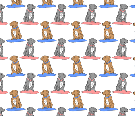 Pit bulls on pillows fabric by rusticcorgi on Spoonflower - custom fabric