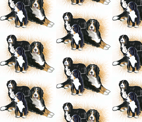 Bernese Mountain Dog Trio fabric by dogdaze_ on Spoonflower - custom fabric
