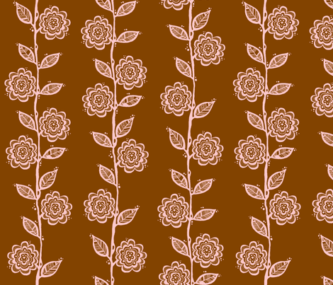 Vine Pink on Brown fabric by toni_elaine on Spoonflower - custom fabric