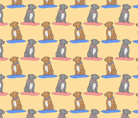 Pit bulls on pillows - tan fabric by rusticcorgi on Spoonflower - custom fabric