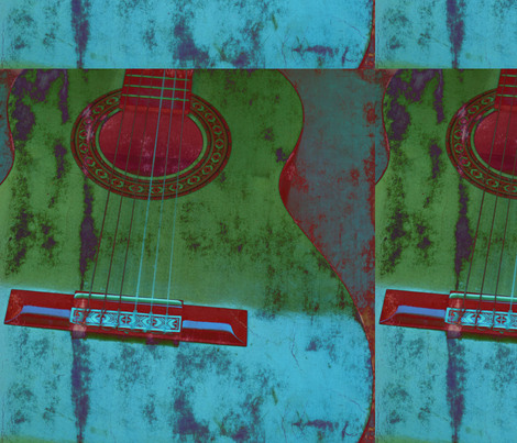 Green and Aqua Guitar fabric by peacefuldreams on Spoonflower - custom fabric