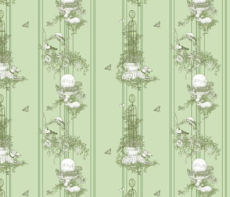 Green Stripe Garden Toile Small ©2011 by Jane Walker fabric by artbyjanewalker on Spoonflower - custom fabric