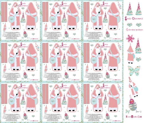 Santa Hanging Ornaments fabric by karenharveycox on Spoonflower - custom fabric