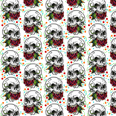 Small skull Halloween fabric fabric by whimzwhirled on Spoonflower - custom fabric
